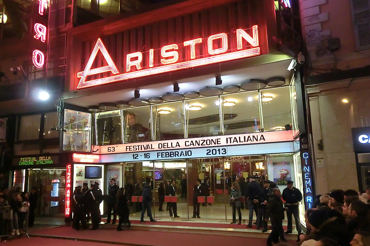 The Teatro Ariston in Sanremo during the last evening of the Festival in 2013