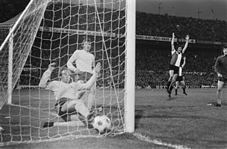Phil Beal - Beal attempts to make a goal-line clearance which leads to the first goal by Feyenoord in the second leg of the 1974 UEFA Cup final