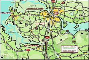 Carrowmore - Finding Carrowmore: Approaching from the south (N4) after Collooney roundabout, exit Strandhill/Airport. Follow route Strandhill (R292). Take the right exit at Ransboro roundabout, centre is 1 km further on, on the right. Approaching from the north (N15), cross Hughes Bridge in Sligo town, and at the 5th set of traffic lights after the bridge turn right onto Church Hill. After 2 km take a left fork, signed Carrowmore. The centre is located 1 km from here, on the left.