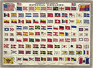 "National flag - Johnson's new chart of national emblems, published c. 1868. The large flags shown in the corners are the 37-star flag of the United States (flown 1867–1877), the Royal Standard of the United Kingdom, the Russian Imperial Standard, and the French tricolore with inset Imperial Eagle. Various other flags flown by ships are shown. The Flag of Cuba is labelled ""Cuban (so called)"". The Chinese dragon on the Flag of China was drawn mistakenly as a western dragon."