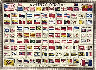 "National flag - Johnson's new chart of national emblems, published c. 1868. The large flags shown in the corners are the 37-star flag of the United States (flown 1867–1877), the Royal Standard of the United Kingdom, the Russian Imperial Standard, and the French tricolore with inset Imperial Eagle. Various other flags flown by ships are shown. The Flag of Cuba is labelled ""Cuban (so-called)"". The Chinese dragon on the Flag of China was drawn mistakenly as a western dragon."
