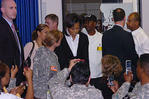 First Lady Michelle Obama speaks with Soldiers...