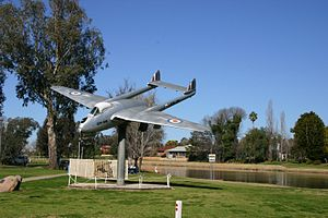 Forbes, New South Wales - de Havilland Vampire monument next to Lake Forbes