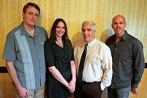 Steven Novella - Latest JREF fellows.  Tim Farley, Karen Stollznow, Steven Novella and Ray Hall. Portrait taken at The Amaz!ng Meeting TAM9 from Outer Space July 16, 2011