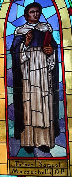 A Stained Glass image of Venerable Father Samuel Mazzuchelli in St. Raphael's Cathedral, Dubuque, Iowa.  A 19th century priest who worked in Iowa, Illinois, and Wisconsin - he was declared Venerable by Pope John Paul II in 1993.