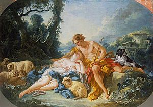 Echo (mythology) - Daphnis recounting the tale of Echo to Chloe. (François Boucher, 1743, The Wallace Collection, London)