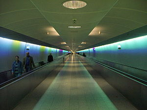 Perspective projection distortion - A people mover at Frankfurt International Airport showing perspective distortion as parallel lines appear to converge.