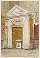 Frescoed fountain with birds and floral motif in Pompeii watercolor by Luigi Bazzani.jpg
