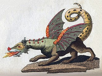 Dragon - Illustration of a winged, fire-breathing dragon by Friedrich Justin Bertuch from 1806