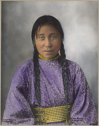 Assiniboine - Full Moon, an Assiniboine woman, 1900
