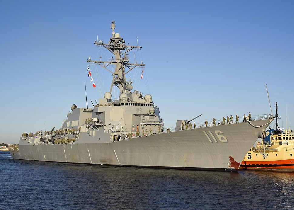 Future USS Thomas Hudner (DDG-116) moors at Naval Station Mayport for a port visit before its official commission