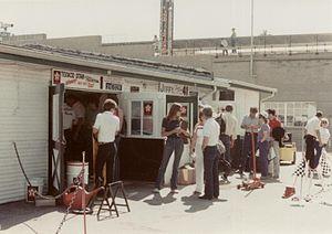 1984 Indianapolis 500 - Tom Sneva's garage in Gasoline Alley.