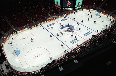 The Vancouver Canucks and the Edmonton Oilers warm up before a match at the  new General 276ae6f7a