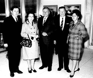 John A. Gronouski - John Gronouski, Ambassador to Poland, meets his friends Wiesław and Longina Czajkowski with Chairman of the Polish-American Chamber of Commerce in Detroit, Chester A. Kozdroj and his wife Helena at the U.S. Embassy in Warsaw, September, 1966.
