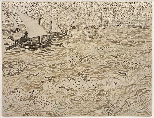 Fishing Boats and Seascape at Saintes-Maries by Vincent van Gogh