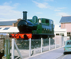 """GWR 1400 Class - """"Tivvy Bumper"""" locomotive 1442 in its original resting-place on Blundell's Road, Tiverton, photographed in 1968"""