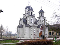 The new Orthodox church in the village. The razed Catholic church stood here until the end of the 1960s.