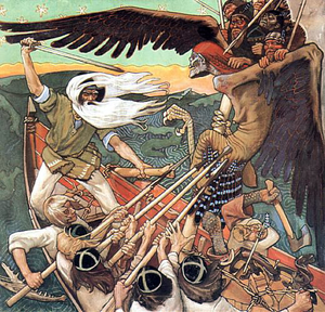 Louhi - The Defense of the Sampo, by Akseli Gallen-Kallela, shows Väinämöinen as he fights Louhi in her form of a winged monster carrying deformed Pohjola warriors on her back