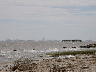 Galveston Bay - Galveston Bay, skyline of downtown Galveston seen on the horizon