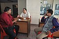 Ganga Singh Rautela Discussing With Debiprasad Duari And Arvind Paranjpye - Professional Enrichment Programme On Astronomy Awareness - NCSM - Kolkata 2011-09-21 5546.JPG