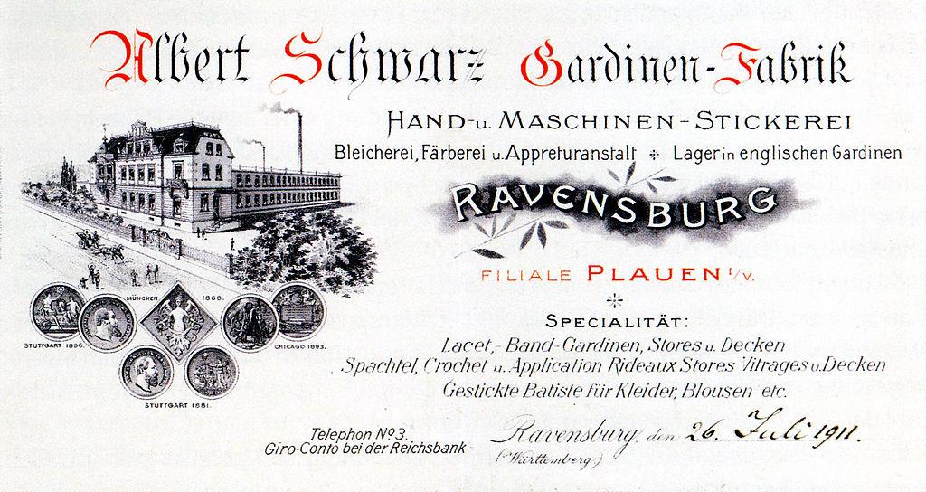 File:Gardinenfabrik Albert Schwarz Ravensburg 1911.   Wikimedia