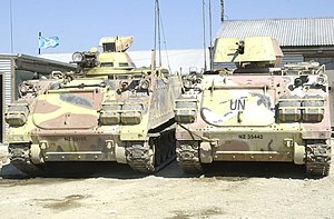 United Nations Transitional Administration in East Timor - New Zealand armoured personnel carriers of UNTAET at the Gate Pā base in the southern Suai area, 2002