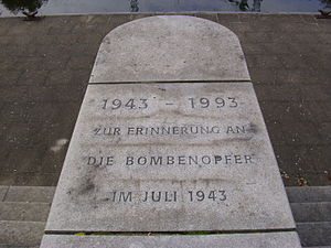 Hammerbrook - Memorial inscription to the victims of Operation Gomorrah