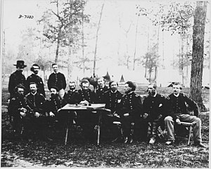 Gen. Geo. H. Thomas, Council of War, Camp Ringgold, officers at (^). Army of the Cumberland. (Collection of Capt.... - NARA - 530455.jpg