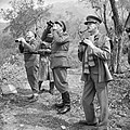 General Oliver Leese, commanding British Eighth Army in Italy, with his corps commanders watching an Allied bombing raid on Cassino, 15 March 1944. NA12805.jpg