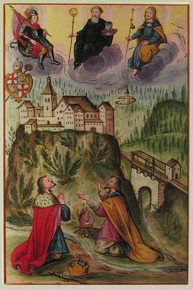 Datei:Georgenberg, Henry IV and Reginbert praying at the foot of Georgenberg ('Pergamentcodex' before 1704).jpg