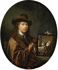 Portrait of the Painter holding a Group Portrait of his Family