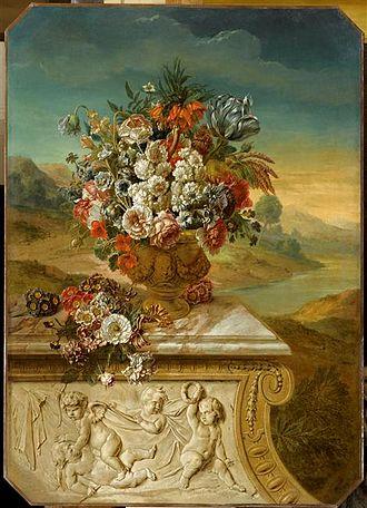 Gerard Rijsbrack - Vase of flowers before a mountainous scenery near a river