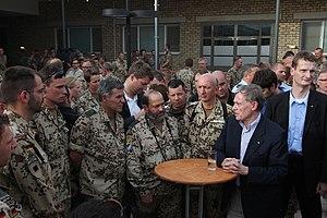 Camp Marmal - German President Horst Köhler talks with troops at Camp Marmal in 2010.