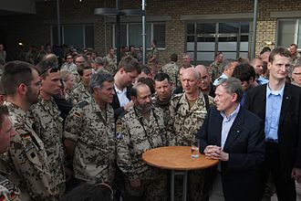 Camp Marmal - German President Horst Köhler talks with troops at Camp Marmal in 2010.