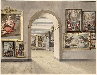 Trippenhuis - Interior of the Trippenhuis with the national collection, during the period 1825-1885