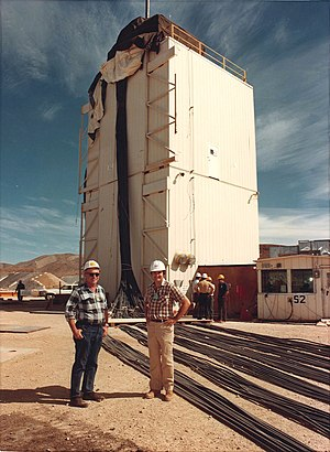 Project Excalibur - George Chapline, Jr. (right) and George Maenchen (left) at the world's first X-ray laser prior to the Dauphin underground nuclear test.