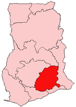 Location of Eastern Region in Ghana