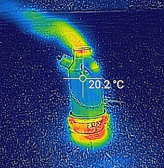 Convection - Thermal image of a newly lit Ghillie kettle. The plume of hot air resulting from the convection current is visible.