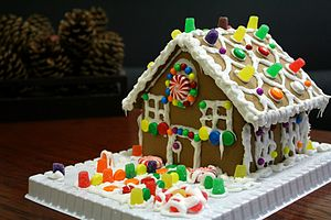 Gingerbread house with gumdrops.