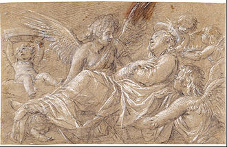 Giovanni Baglione - Drawing of Saint Catherine, Carried up to Heaven by Angels, c. 1625