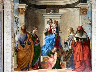 Sacra conversazione - Example for a church by Giovanni Bellini, 1505, who also developed types for wealthy homes.