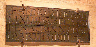 Gisela of Swabia - Gisela's Epitaph in Speyer Cathedral