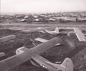 Waco CG-4 - During Operation Market-Garden, Waco gliders are lined up on an English airfield in preparation for the next lift to the Netherlands.