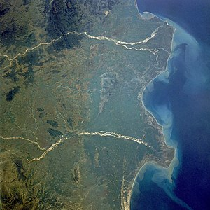 Godavari River - Godavari River delta extending into the Bay of Bengal (upper river in image).