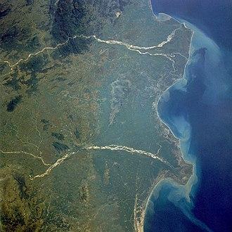 Godavari River - Godavari River delta extending into the Bay of Bengal (upper river in image).
