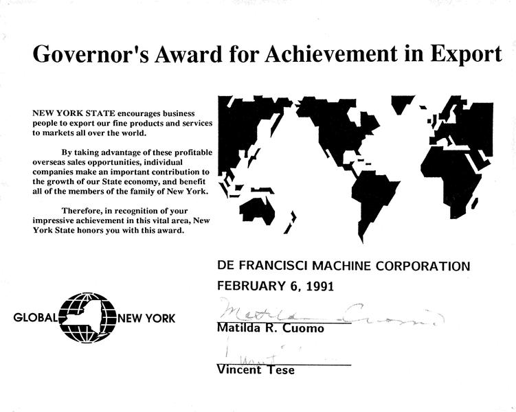 File:Governor's Award for Achievement in Export from New York State - DeFrancisci Machine Corporation 1991.pdf