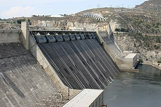 The Grand Coulee Dam is an example of a solid gravity dam. Grand Coulee Dam spillway.jpg