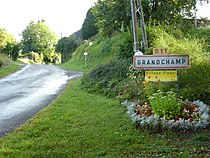 Grandchamp (Ardennes) city limit sign.JPG