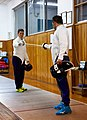 Greek Epee Fencers. Agapitos Papadimitriou (left) and Ilias Konstantinidis (right) testing their electric swords.jpg