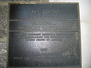 Grey Towers Castle - The National Historic Landmark plaque